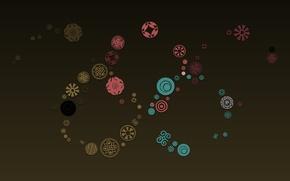Картинка круги, розовый, голубой, текстура, символы, зеленый фон, бордовый