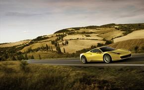 Обои дорога, скорость, ferrari, 458, italia
