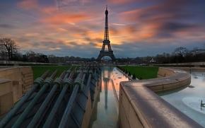 Картинка рассвет, Франция, Эйфелева башня, eiffel tower, трокадеро