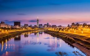Картинка небо, свет, city, город, lights, огни, отражение, река, China, вечер, розовое, фонари, Китай, Тайвань, синее, …