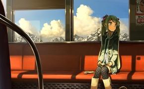 Картинка девушка, облака, горы, поезд, арт, вагон, сиденья, vocaloid, hatsune miku, вокалоид, варежки, плакаты, domo1220