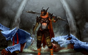 Картинка destiny, игра, меч, шлем, револьвер, охотник, art, bungie, blade dancer, warpriest