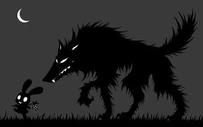 Картинка трава, ночь, опасность, луна, волк, заяц, месяц, силуэт, арт, черно-белое, беззаботность, монохромное, котомка