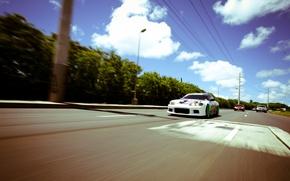 Картинка дорога, тюнинг, скорость, белая, S15, Silvia, Nissan, white, ниссан, tuning, сильвия