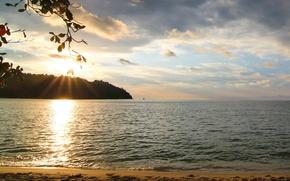 Картинка солнце, закат, озеро, берег