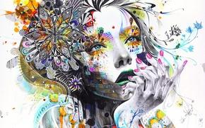 Обои глаза, девушка, абстракция, рендеринг, пальцы