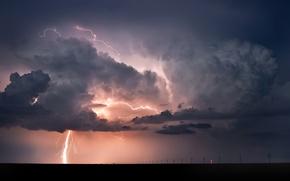 Обои молния, пейзажи, дождь