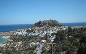 Картинка море, Линдос, Родос, Греция, вид на акрополь, город под акрополем, горизонт