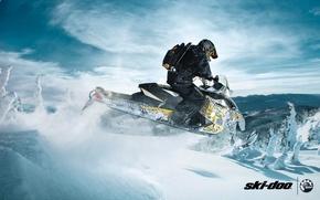 Картинка снег, прыжок, спорт, sport, snow, снегоход, 600, backcountry, snowmobile, ski-doo, brp, skidoo, renegade