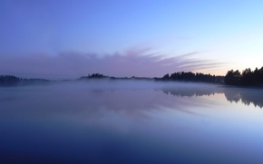 Обои туман, 153, деревья, озеро, отражение