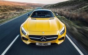 Обои C190, 2015, UK-spec, AMG, GT S, желтый, мерседес, амг, Mercedes