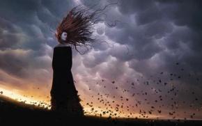 Картинка девушка, ветер, волосы, Листья