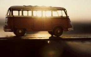 Картинка машина, солнце, лучи, фон, widescreen, транспорт, обои, игрушка, размытие, wallpaper, автобус, машинка, разное, широкоформатные, background, …