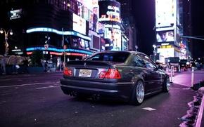 Картинка ночь, город, огни, бмв, BMW, tuning, E46