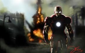 Обои Железный человек, Iron Man, человек, взрыв, Роберт Дауни мл