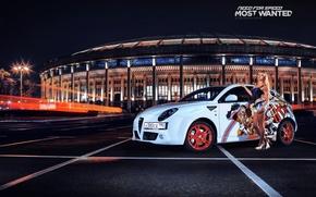 Обои блондинка, белая, Alfa Romeo, парковка, nfs, most wanted, smotra, Mito