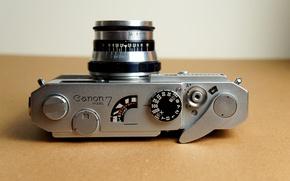 Картинка фон, фотоаппарат, объектив, затвор, Canon 7, диафрагма, кнопка спуск, Industar-61, рычаг перемотки
