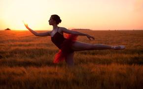 Обои солнце, танец, балерина