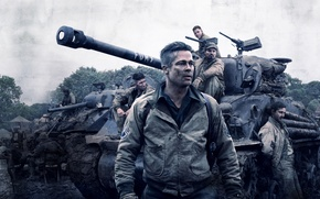 Обои Brad Pitt, Action, Men, Wallpaper, War, Tank, Shia LaBeouf, Travis, Year, Garcia, Movie, Film, 2014, ...