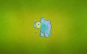 Обои минимализм, одноглазый, Monsters Inc, циклоп, зеленоватый фон, Джеймс Пи «Салли» Салливан, Майкл «Майк» Вазовский, рога, ...