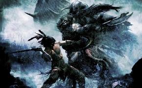 Картинка битва, воины, викинги, Следопыт