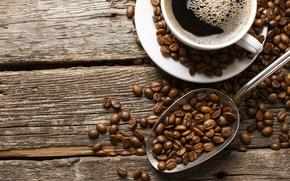 Обои cup, coffee beans, liquid, coffee