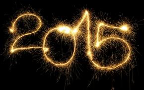 Картинка Новый Год, golden, New Year, fireworks, Happy, 2015