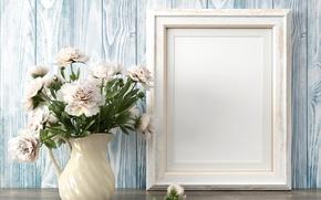 Картинка Цветы, Белый, Ваза, Шаблон, Пионы
