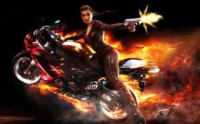 Обои мотоцикл, стрельба, the wheelman