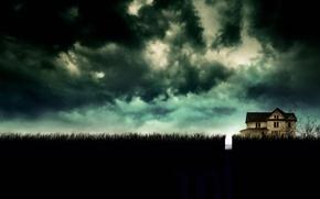 Обои постер, тучи, 10 Cloverfield Lane, трава, триллер, вечер, дом, поле, Кловерфилд 10, фантастика, ужасы