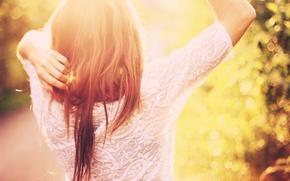 Картинка лето, девушка, солнце, свет, волосы, боке