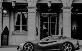 Картинка ч/б, supercar, ferrari, f12 berlinetta