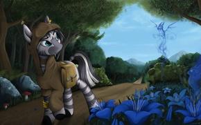 Картинка лес, цветы, тропа, зебра, пони, синие, Deviantart, My Little Pony, pony, mlp, by Yakovlev-vad