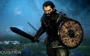 Картинка меч, щит, dragon age, rpg, bioware, inquisition, серый страж, блэкволл