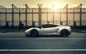 Картинка авто, закат, Lamborghini gallardo