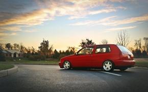 Картинка небо, облака, красный, volkswagen, профиль, red, гольф, golf, фольксваген, MK3