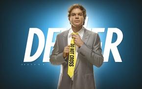 Обои галстук, Майкл Карлайл Холл, Michael Carlisle Hall, Dexter, костюм, Декстер