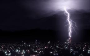 Картинка гроза, небо, свет, ночь, city, город, огни, рендеринг, молния, дома, dark, Light, night, render, clouds, …