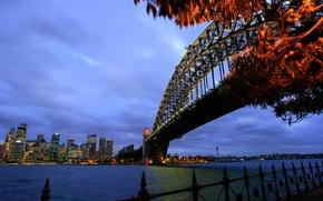 Картинка мост, огни, дома, вечер, Австралия, залив, Сидней