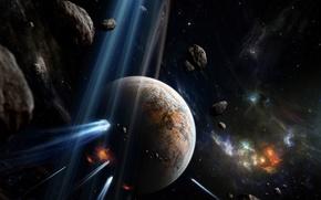 Обои пространство, планета, метеоры, взрывы