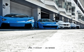 Обои машины, тюнинг, Lamborghini, Porsche, BMW, Ferrari, Nissan, гаражи, Liberty Walk