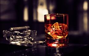 Обои лед, бокал, сигара, виски