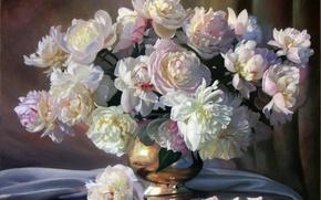 Картинка ваза, цветы, картина, букет, Zbigniew Kopania, белые, натюрморт, лепестки, пионы, ткань