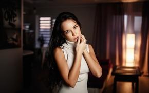Обои модель, Denis Petrov, платье, макияж, брюнетка, боке, прическа, красотка, Ангелина Петрова, Angelina Petrova, комната