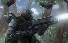 Картинка оружие, роботы, арт, солдат, броня, Peter Balogh