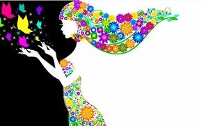 Картинка цветы, руки, черное, волосы, девушка, белое, бабочки, силуэт. профиль, платье