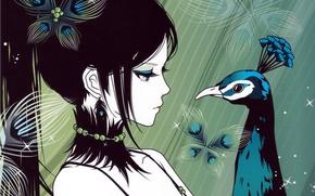 Картинка взгляд, девушка, аниме, арт, хвост, профиль, павлин. птица