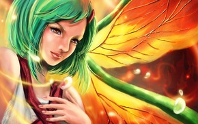 Картинка девушка, крылья, арт, зеленые волосы, naruto, fuu, rikamello