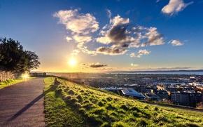 Картинка закат, Шотландия, панорама, Scotland, Эдинбург, Edinburgh