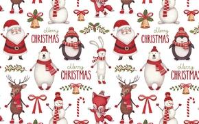 Картинка Санта Клаус, шарфик, бантик, рога, зайчик, текстура, конфета, олень, Новый год, фон, колокольчик, праздник, шапочка, ...